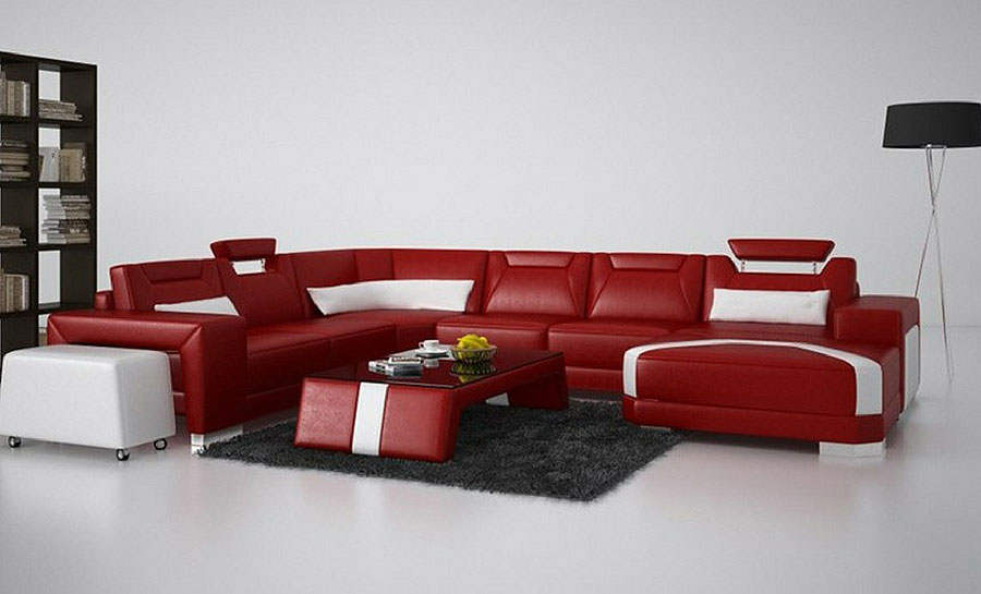 Mason - U - Leather Sofa Lounge Set